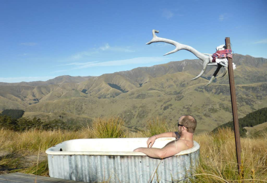 A bath with a view - gas heated at Mud Hut