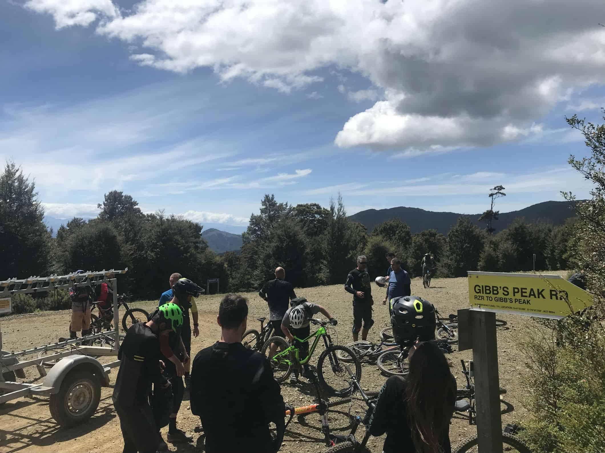 Wairoa Gorge Bikers getting on the shuttle